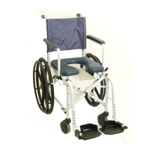 "Front View of Blue Invacare Mariner Rehab Shower Chair with 16""/18"" Seat"