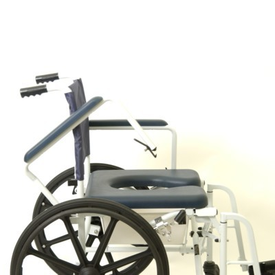 "Side View of Blue Invacare Mariner Rehab Shower Chair with 16""/18"" Seat"