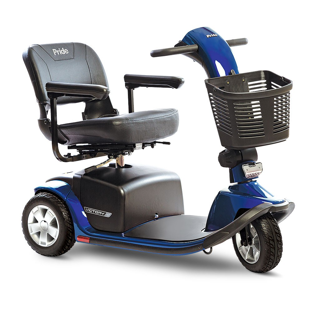 Front view of Blue 3-Wheel Standard Mobility Scooter for Rental