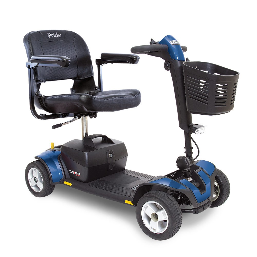 Blue 4-Wheel Travel Mobility Scooter for Rental