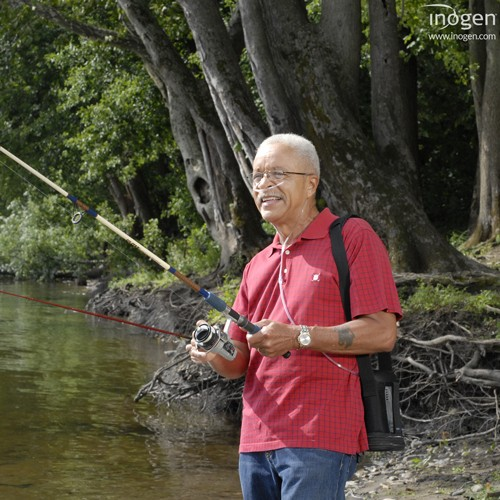 Man fishing with a 5 Liter Pulse Portable Oxygen Concentrator Rental