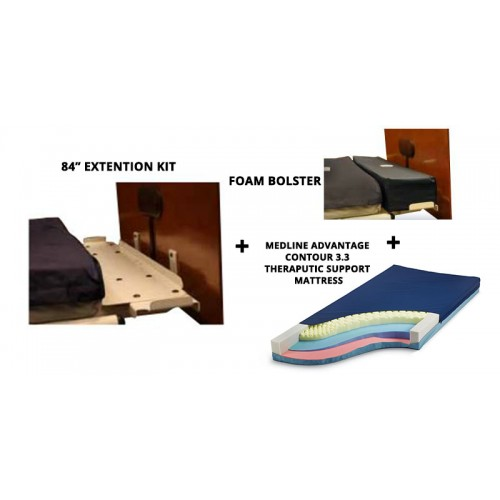 """84"""" Extension Kit Package with Foam Bolster and Medline Mattress"""