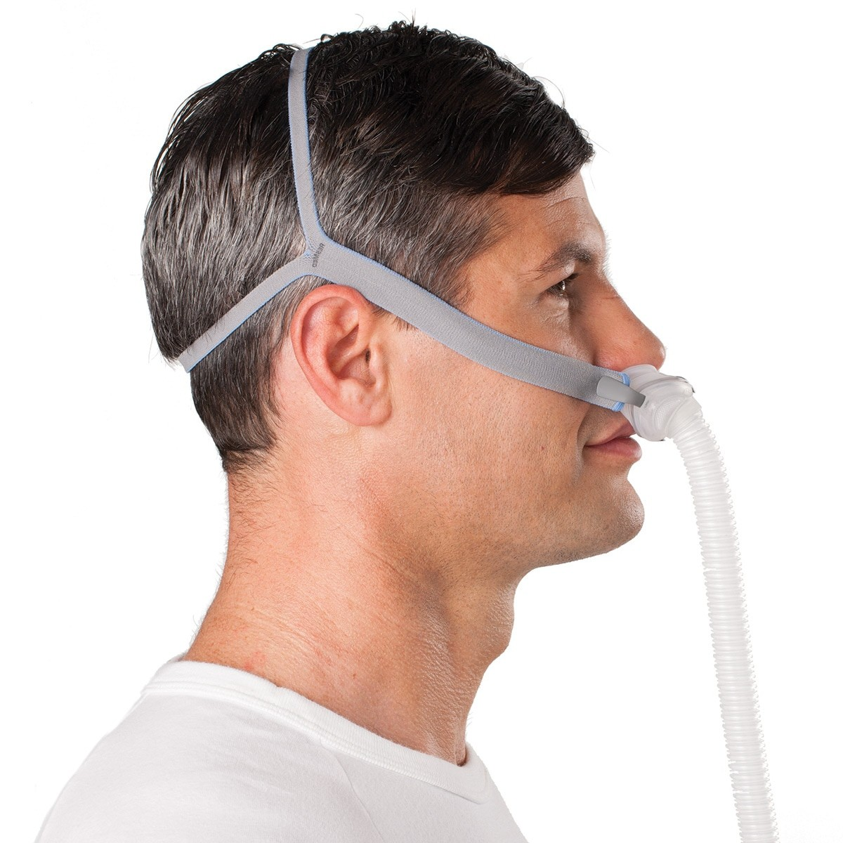 Man wearing a AirFit P10 Nasal Pillow CPAP Mask with Headgear