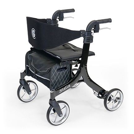 Black Stella Rollator with four wheels