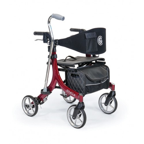 Red Stella Rollator with four wheels