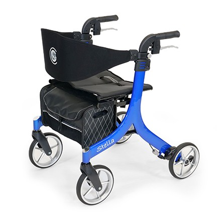 Blue Stella Rollator with four wheels