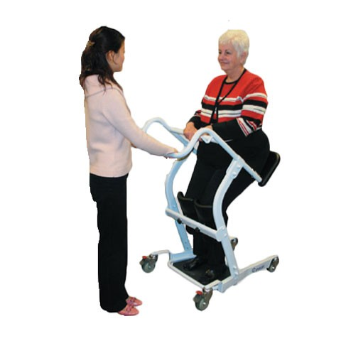 Woman sitting in a White Bestcare STA400 Standing Transfer Aid Rental