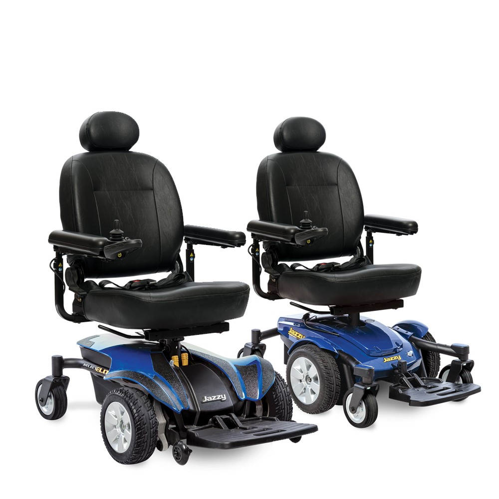 Two Blue Captain Seat Electric Wheelchairs for Rental