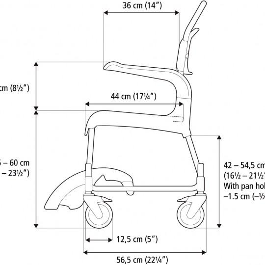 Measurements of Etac Clean Height Adjustable Shower Commode