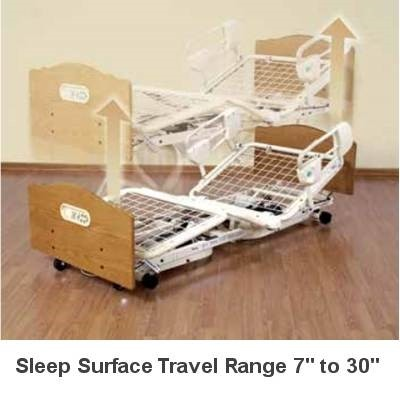 Demonstration of Sleep Surface Travel Range on Home Care Bed