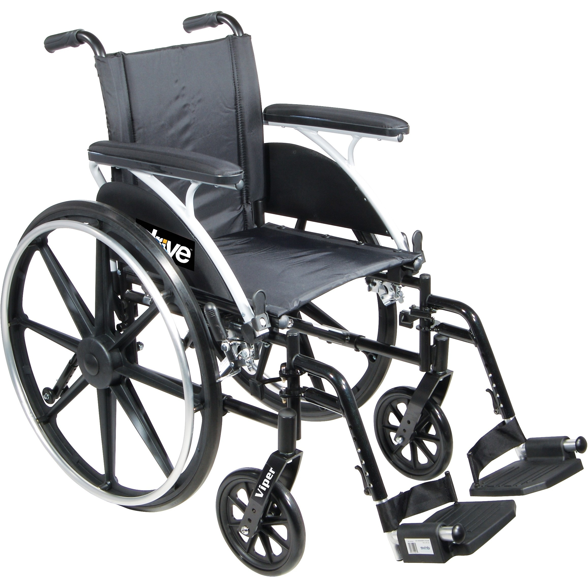 Front view of Drive Viper Wheelchair with Flip Back Removable Arms
