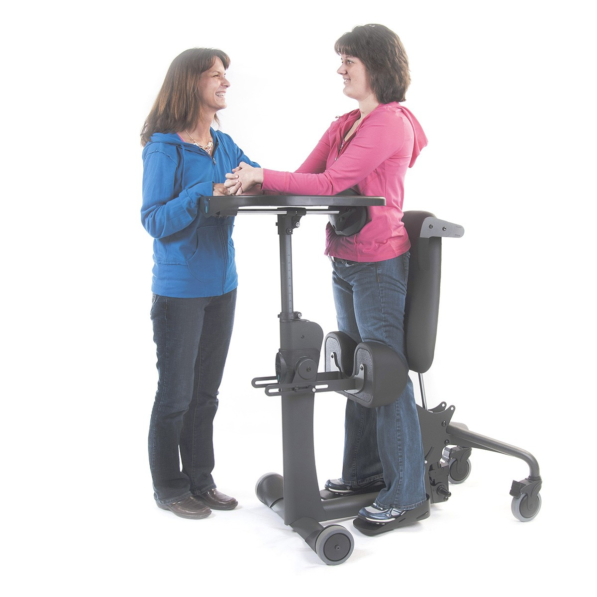 Woman standing in a EasyStand Evolv Large