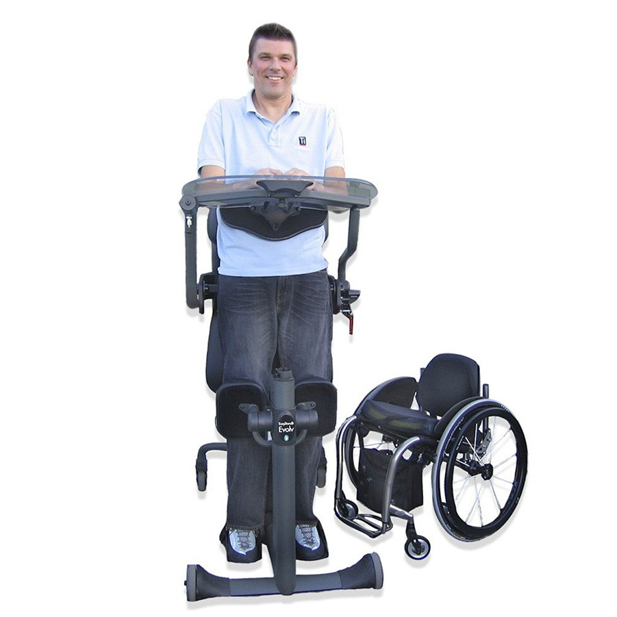 Man standing on a EasyStand Evolv XT
