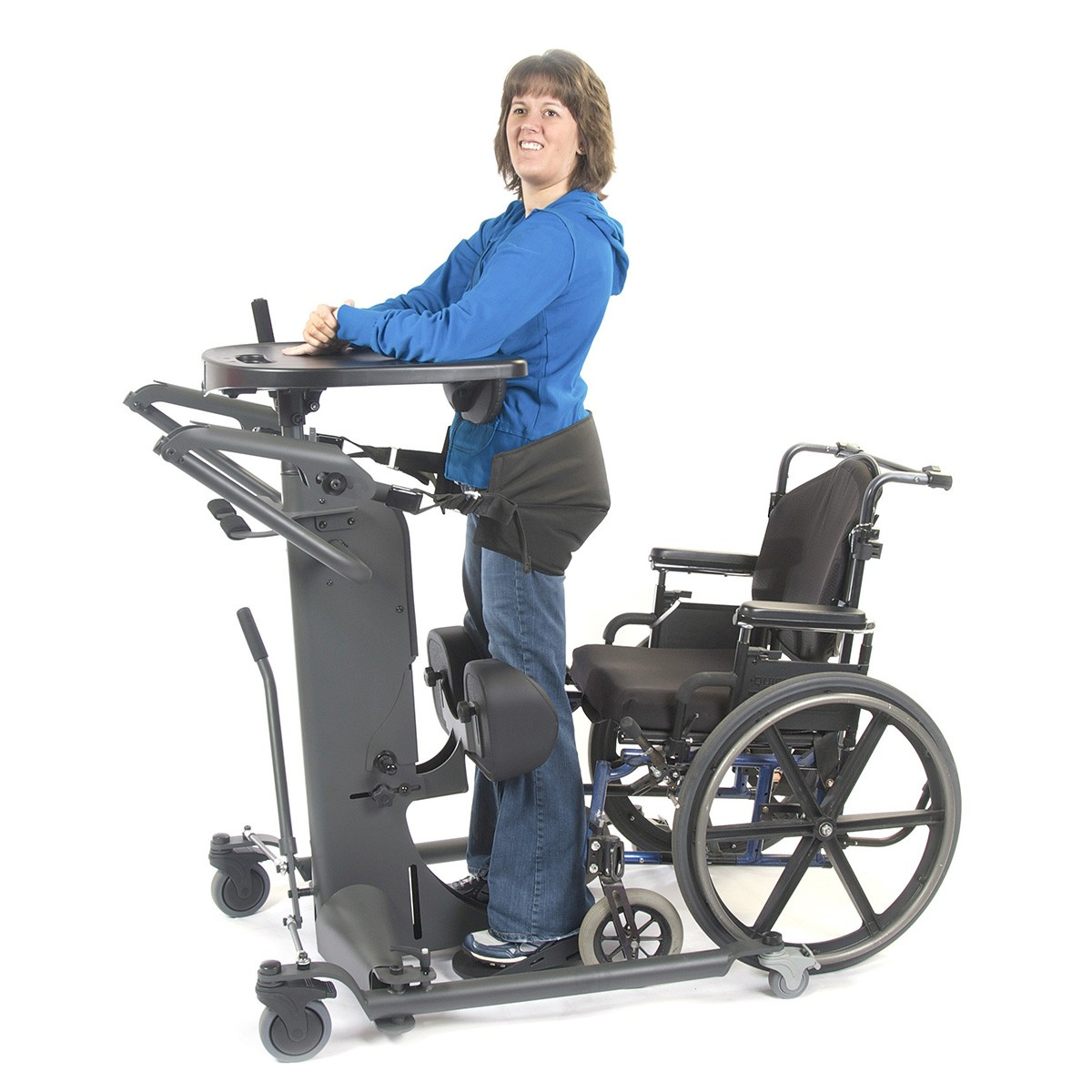 Woman standing on a EasyStand StrapStand