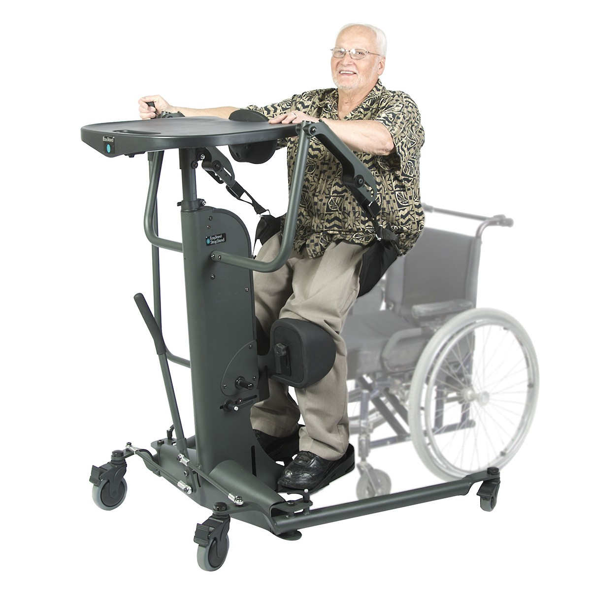 Man sitting on a EasyStand StrapStand Classic