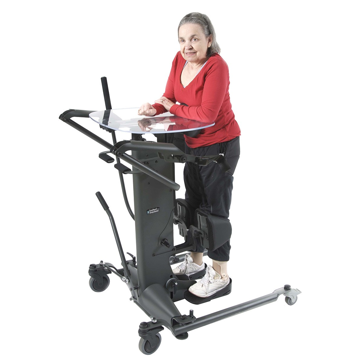 Woman standing on a EasyStand StrapStand Classic