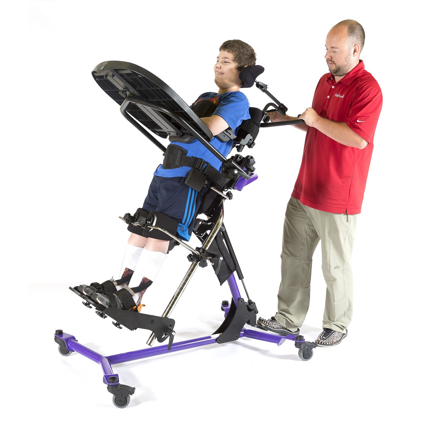 Child laying in a Purple EasyStand Zing MPS Size 2 Gas Spring Lift