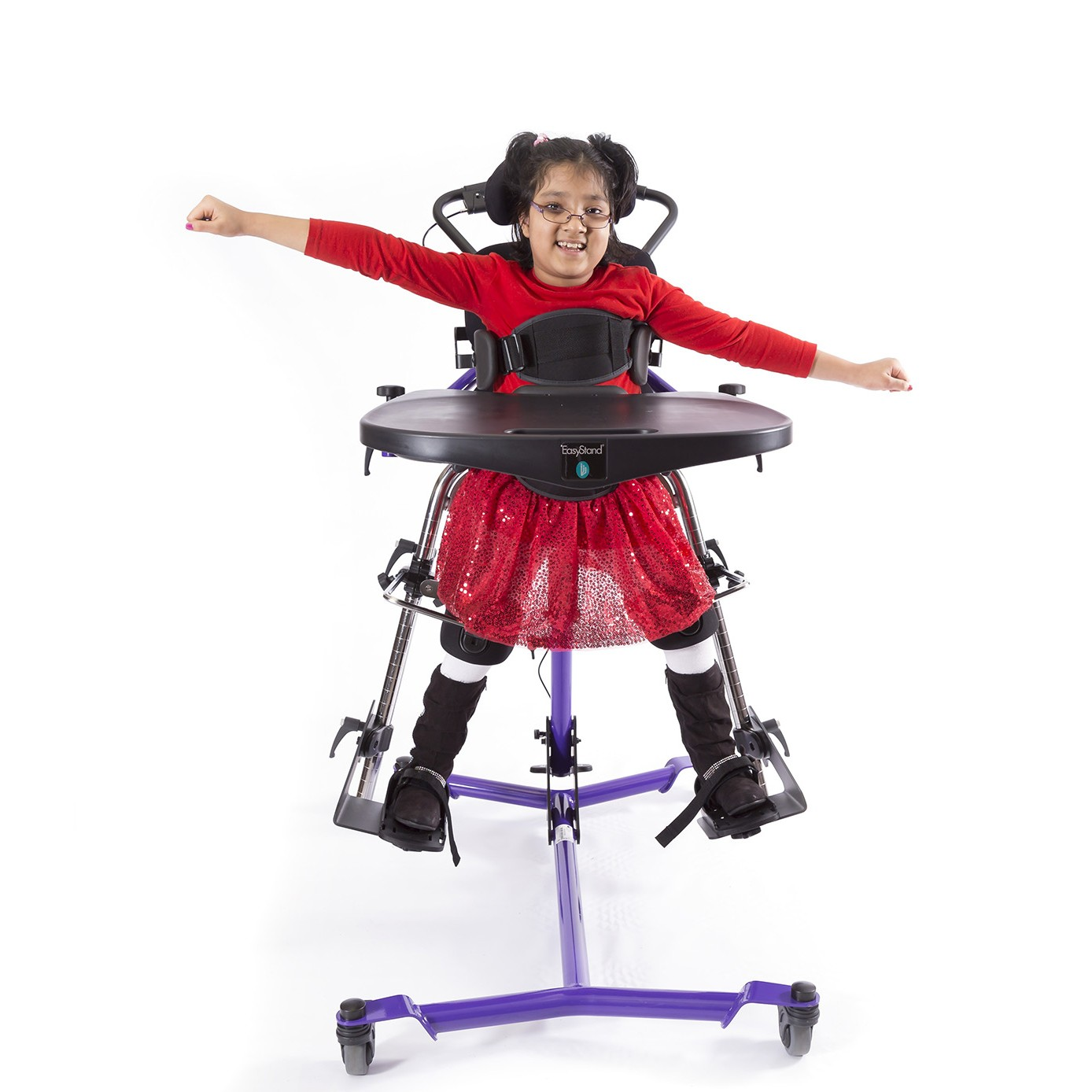 Girl standing in a Purple EasyStand Zing MPS Size 2 Gas Spring Lift