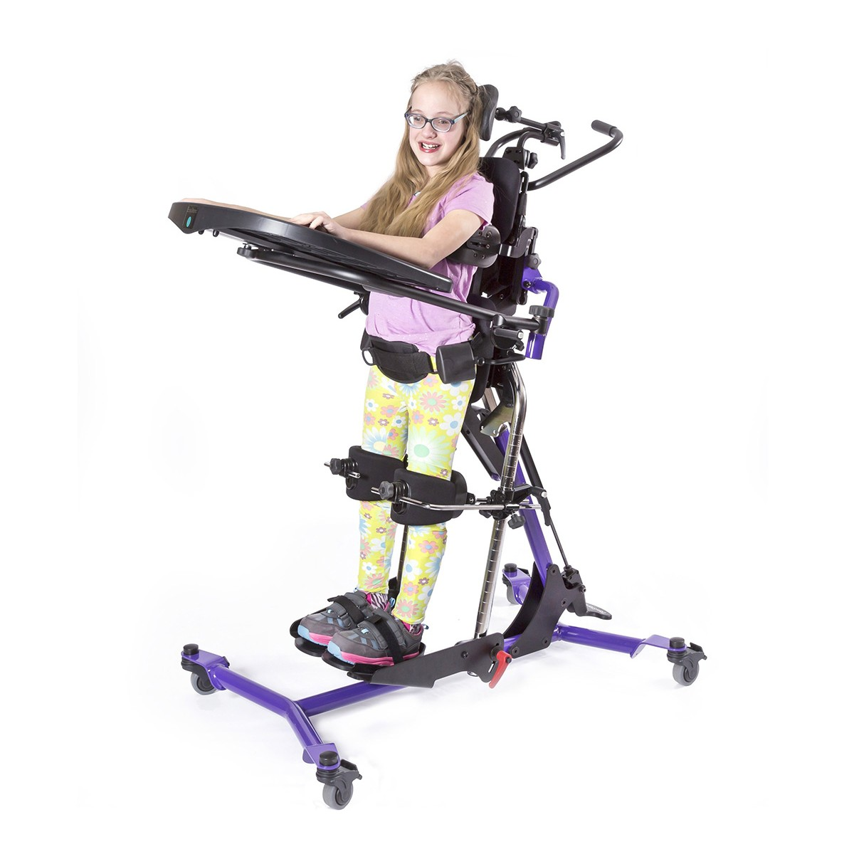 Girl standing in a EasyStand Zing MPS Size 2 Gas Spring Lift