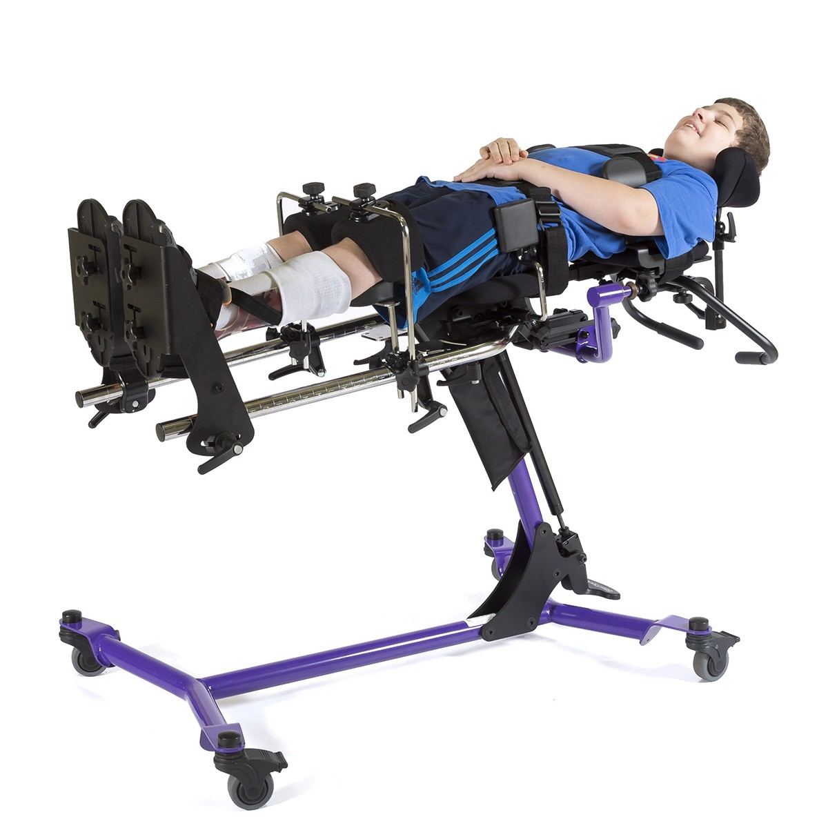 Boy laying in a EasyStand Zing MPS Size 2 Gas Spring Lift