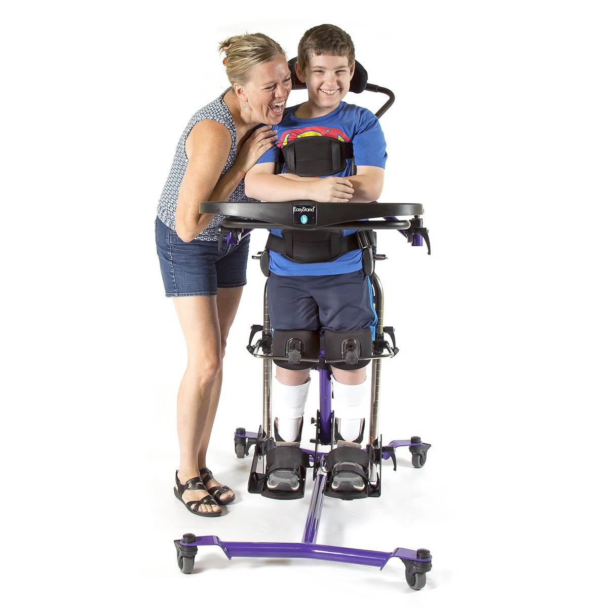 Boy standing in a EasyStand Zing MPS Size 2 Gas Spring Lift