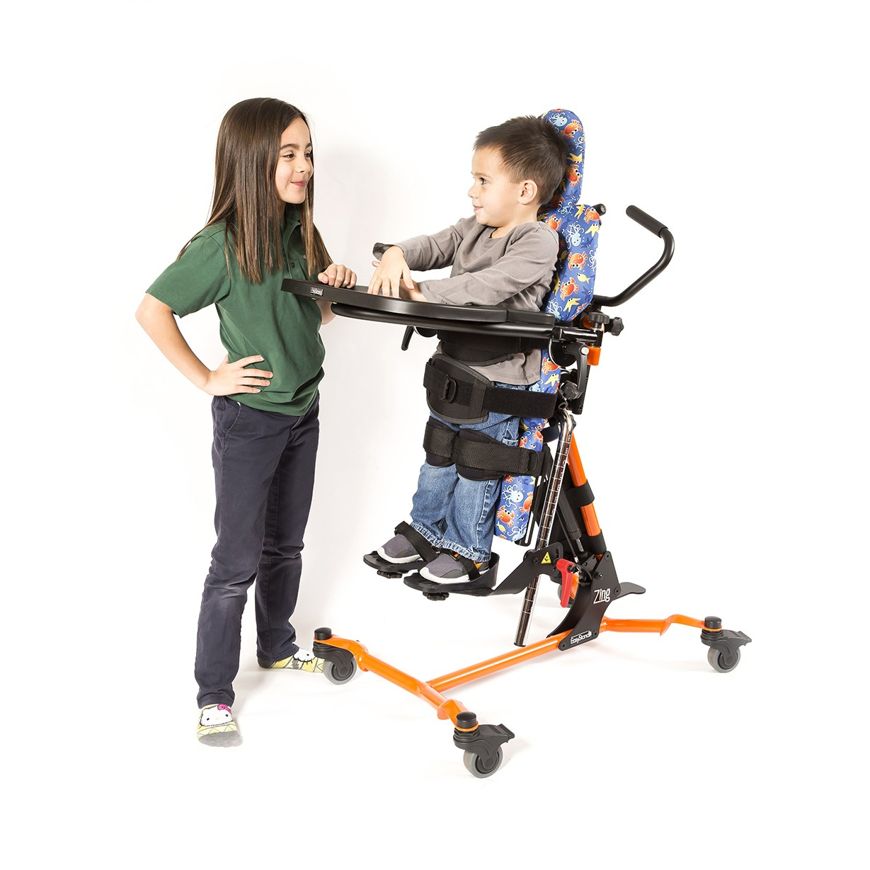 Child standing in a EasyStand Zing MPS TT Size 1