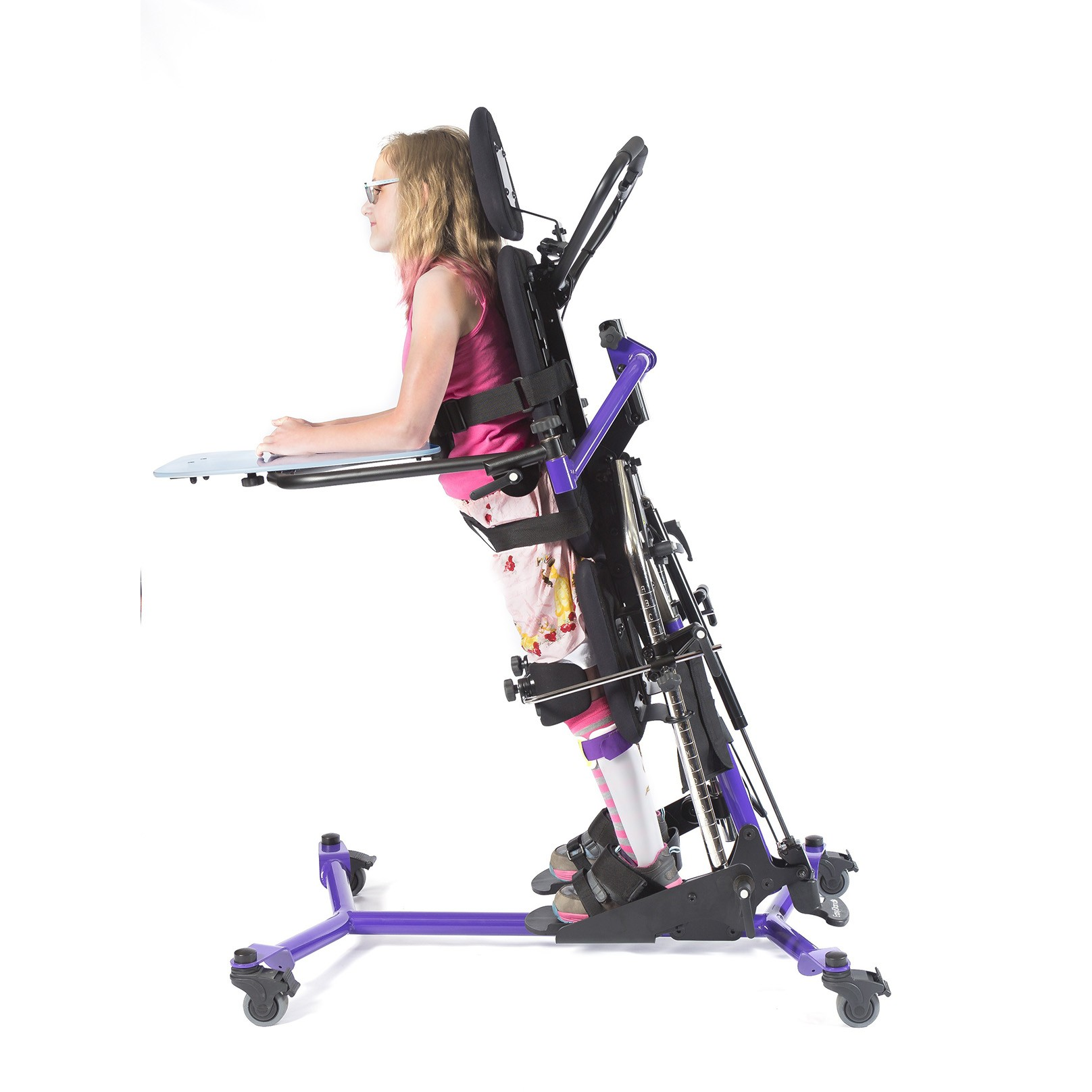 Girl standing in a Leaning EasyStand Zing MPS TT Size 2 Gas Spring Lift