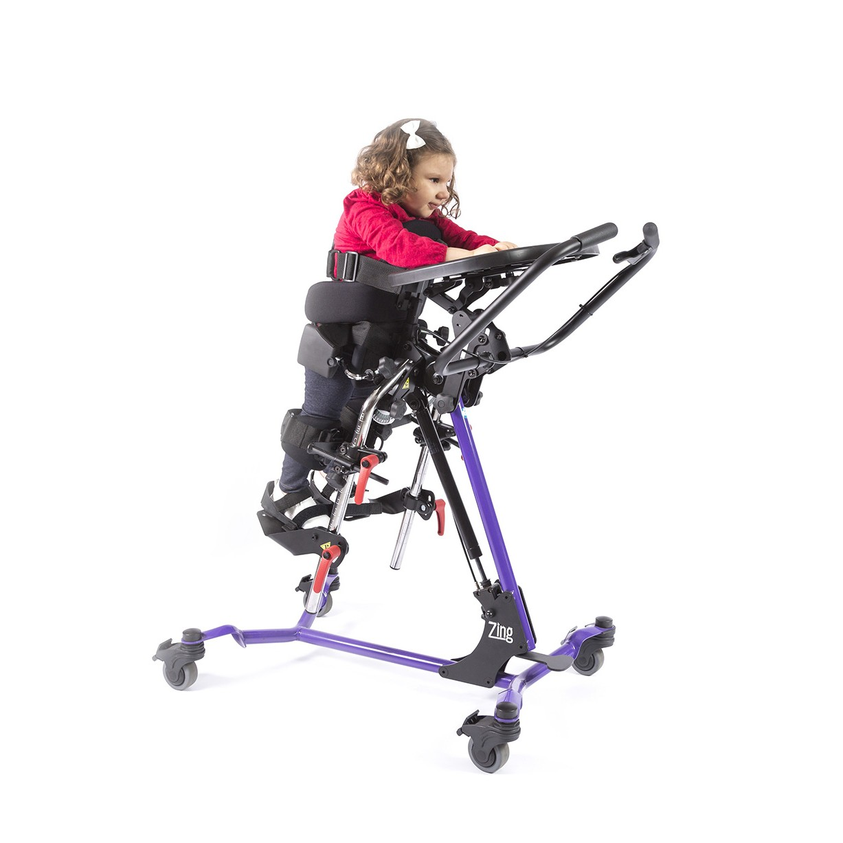 Child standing in a Purple EasyStand Zing Prone Size 1