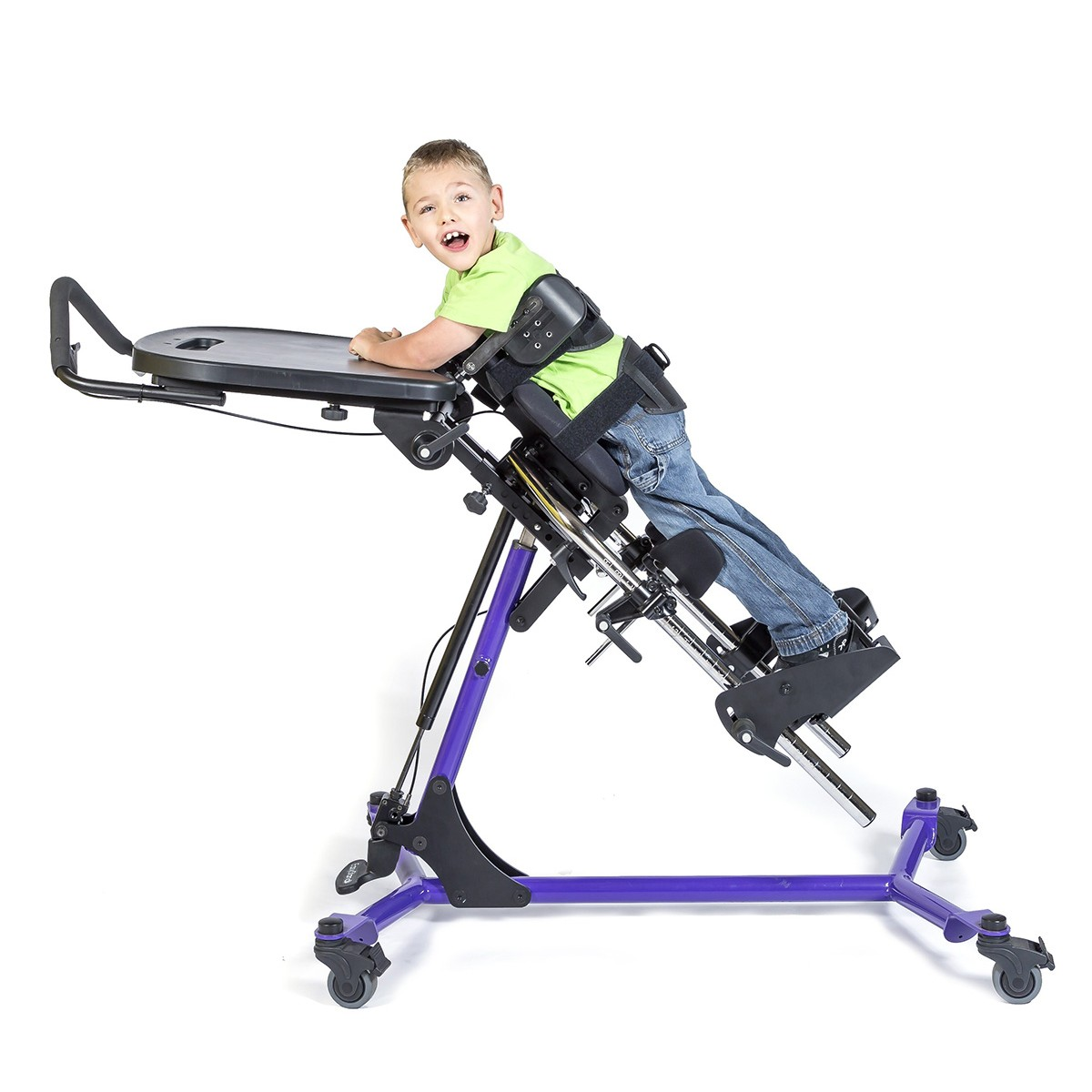 Boy leaning in a EasyStand Zing Prone Size 2 Gas Spring Lift