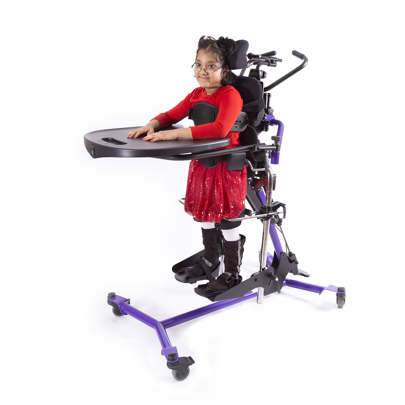 Girl standing in a Purple EasyStand Zing Supine Size 2 Pow'r Up Lift
