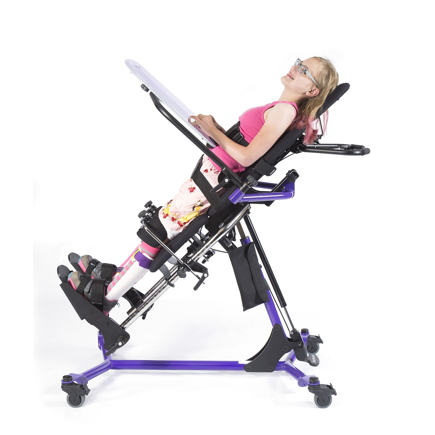 Girl leaning in a EasyStand Zing Supine TT Size 2 Gas Spring Lift