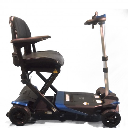 Side view of Blue Enhance Mobility Solax Transformer Automatic Folding Scooter