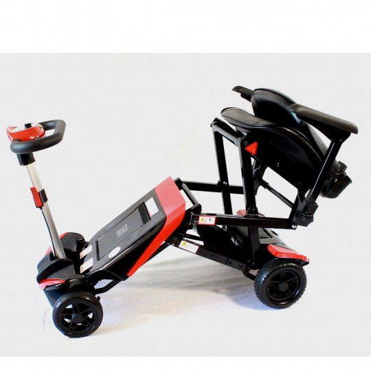 Folded Red Enhance Mobility Solax Transformer Automatic Folding Scooter