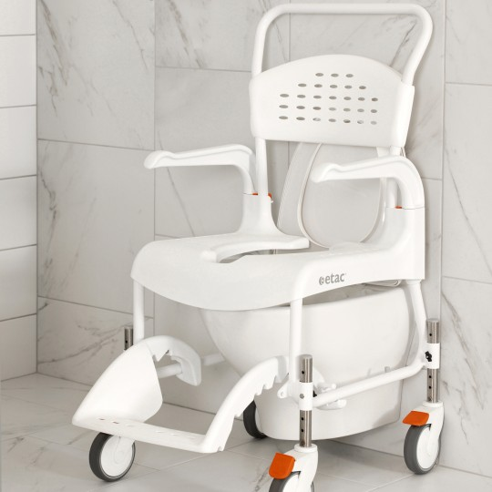 Front View of Etac Clean Height Adjustable Shower Commode over a toilet