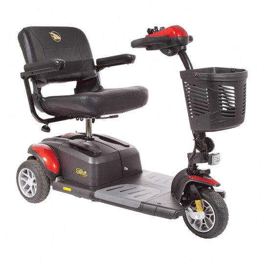 Front view of Red Golden Tech Buzzaround EX 3-Wheel Mobility Scooter