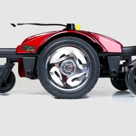 Wheels of a Golden Tech Compass Sport GP605M Power Wheelchair