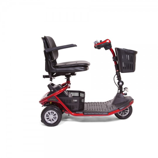 Side view of Red Golden Tech Literider 3-Wheel Mobility Scooter