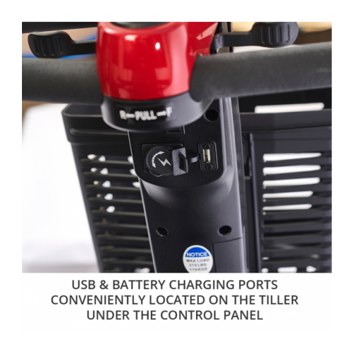 USB and Battery Charging Ports on Tiller
