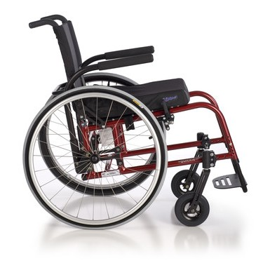 Side view of Red Quickie GP/GPV Rigid Manual Wheelchair