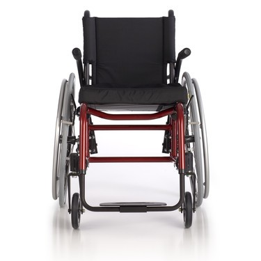 Front view of Red Quickie GP/GPV Rigid Manual Wheelchair
