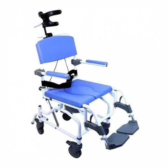 Blue Front View of Healthline Aluminum Tilt Shower Commode Chair