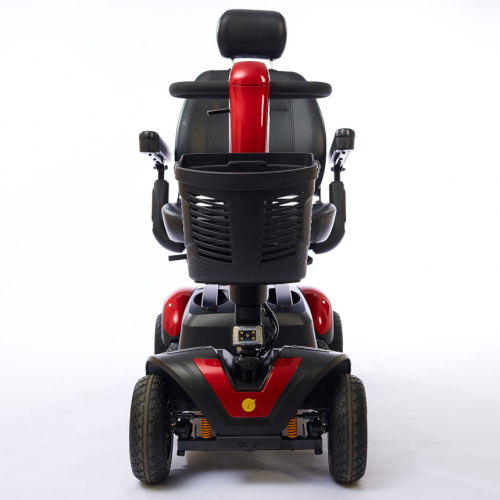 Back view of Red Heavy Duty Travel Scooter with 4 wheels for Rental
