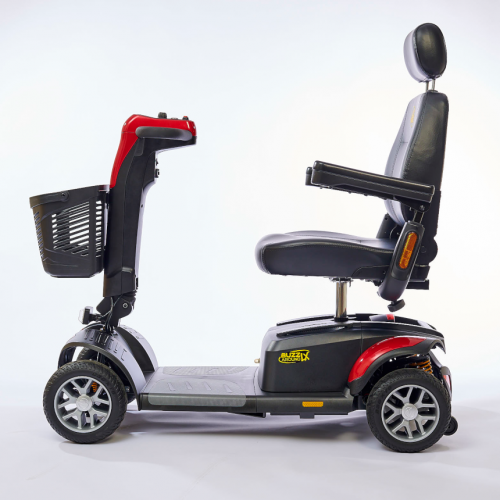 Side view of Red Heavy Duty Travel Scooter with 4 wheels for Rental