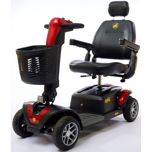 Front view of Red Heavy Duty Travel Scooter with 4 wheels for Rental