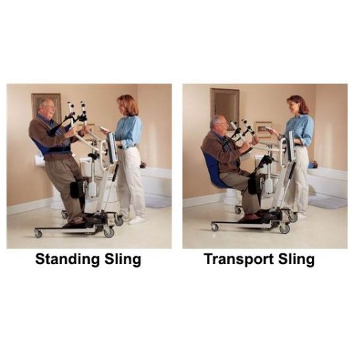 Man sitting in Invacare Get-U-Up Manual Sit-To-Stand Lift