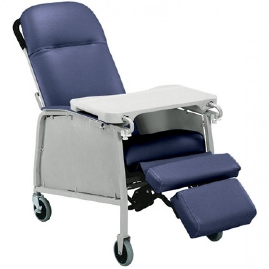 Blue Invacare Chair with Tray and Foot Extension