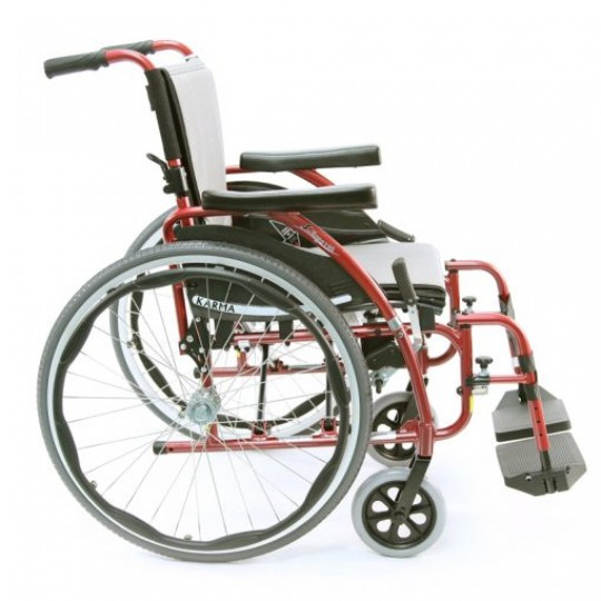 Side view of Red Karman S-Ergo 125 Ultra Lightweight Wheelchair