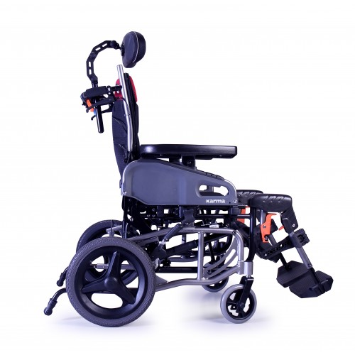 Side view of Karman VIP2 Tilt in Space Reclining Transport Wheelchair