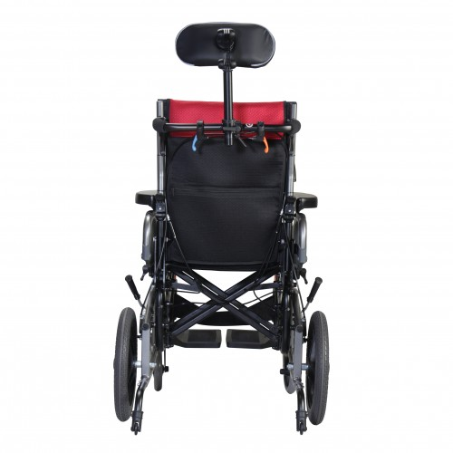 Back view of Karman VIP2 Tilt in Space Reclining Transport Wheelchair