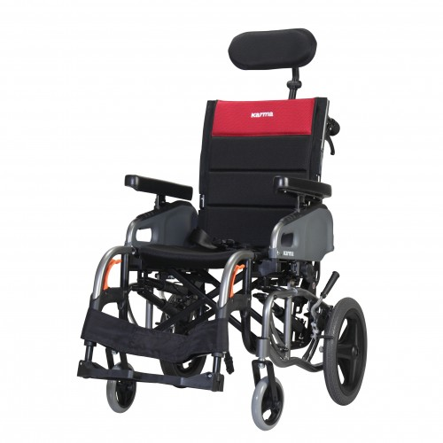 Front view of Karman VIP2 Tilt in Space Reclining Transport Wheelchair